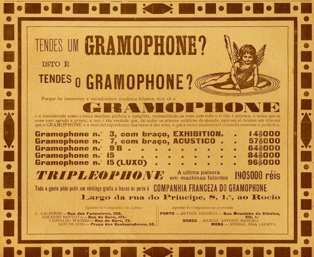Publicidade a vários modelos de gramophones