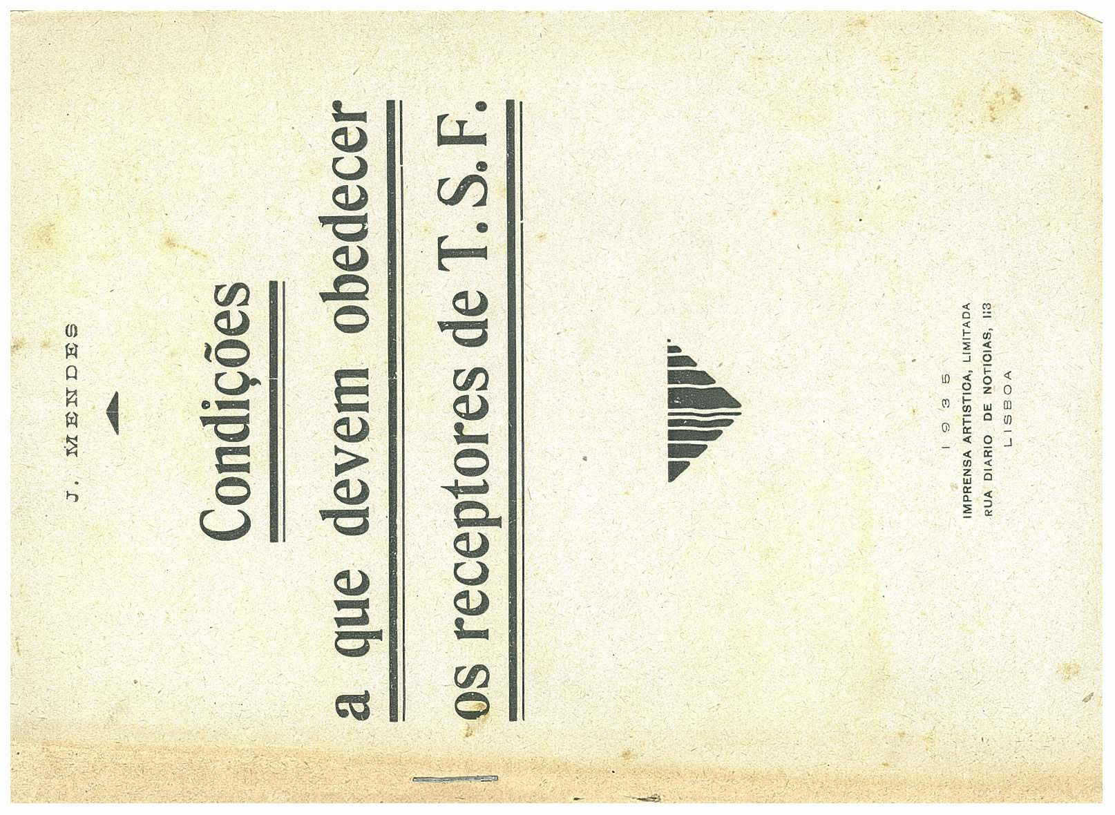Capa do livro Condições a que devem obedecer os receptores de TSF