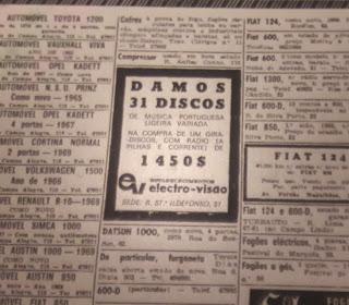 Anúncio publicado no Jornal de Notícias 4 maio de 1972