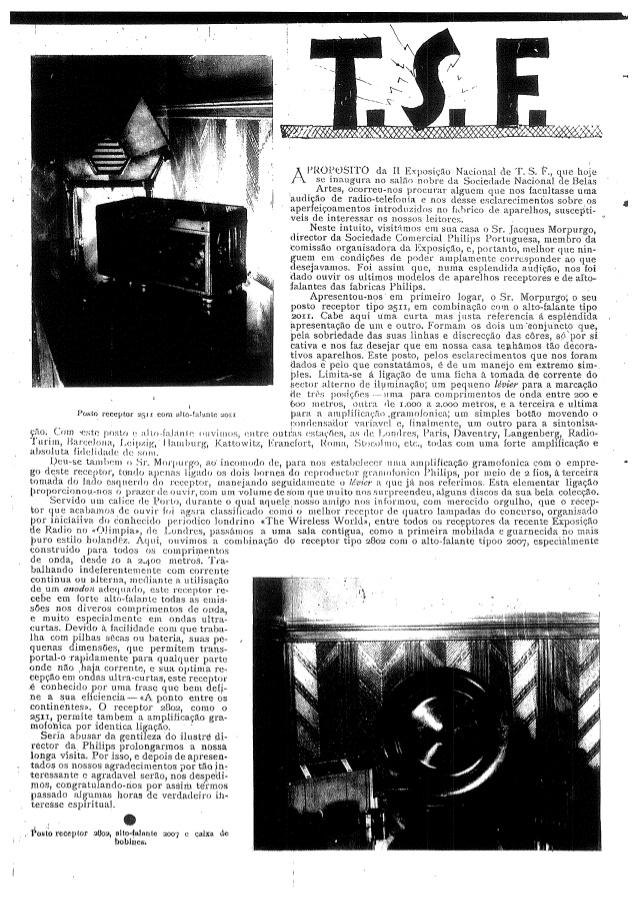 A TSF em 1929, segundo o Notícias Ilustrado.