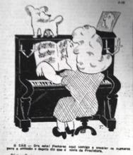 Imagem que representa uma pianista e o seu cão